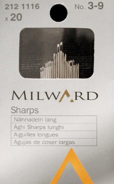 Aghi Milward lunghi n. 3-9. Cartina da 20 aghi