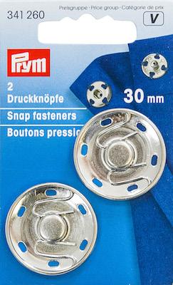Automatici Prym in metallo argento 30mm.