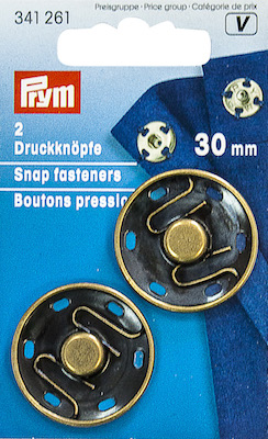 Automatici Prym in metallo brunito 30mm.