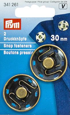 Automatici Prym in metallo brunito 30mm.