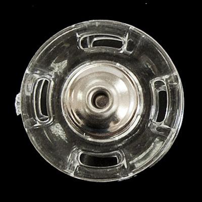 Automatico in metallo argento con bordo in plastica trasparente 25mm.