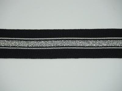 Bordo elasticizzato in altezza nero con inserto lurex argento 2.5cm
