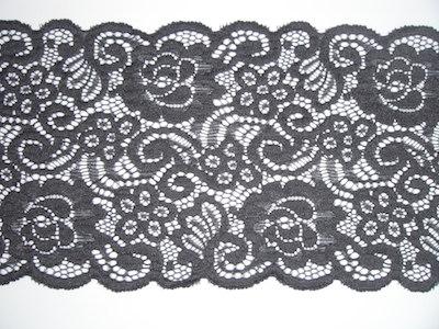 Pizzo elasticizzato grigio scuro 13cm
