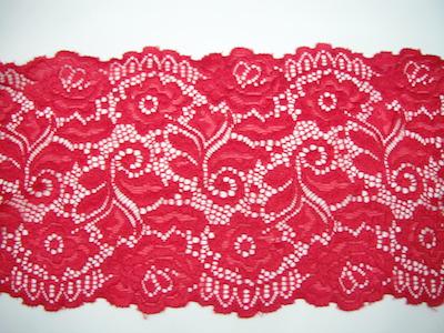 Pizzo elasticizzato rosso 14cm