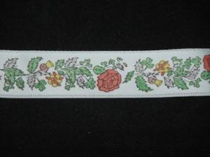 Nastro di raso fantasia floreale fondo bianco 25mm