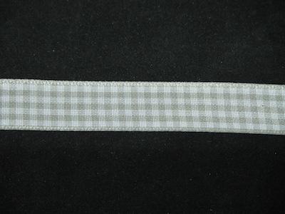 Nastro quadrettato zephir grigio e bianco 15mm. Composizione 100% poliestere