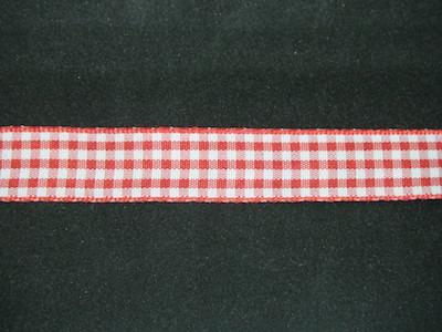 Nastro quadrettato zephir rosso e bianco 15mm. Composizione 100% poliestere