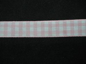 Nastro quadrettato zephir rosa e bianco 10mm