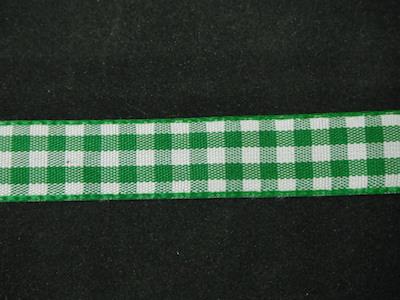 Nastro quadrettato zephir verde e bianco 10mm
