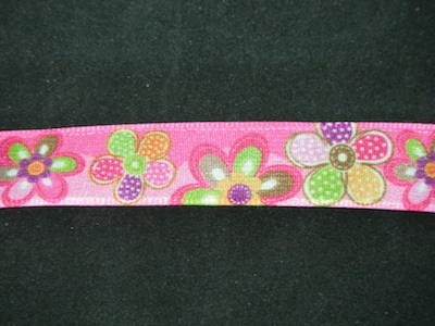 Nastro fantasia floreale fondo rosa e fuxia 16mm