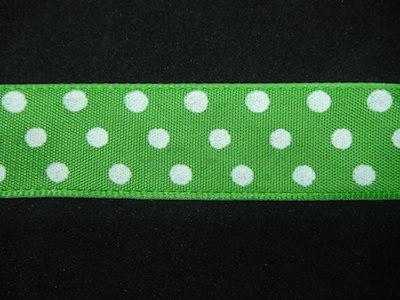 Nastro fantasia pois verde e bianco 25mm