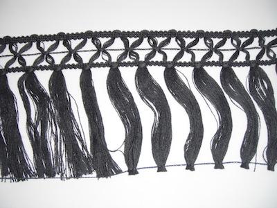 Frangia in lana 15cm grigio scuro