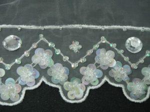 Rifinitura in organza con perline e strass bianco 5cm