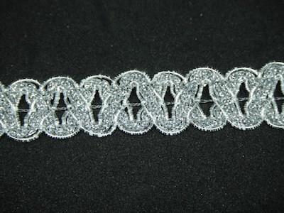 Passamaneria intrecciata lurex argento altezza 2 cm