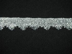 Passamaneria lurex argento con frangia altezza 1.5 cm