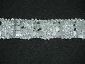 Passamaneria con paillettes lurex argento altezza 2.5 cm