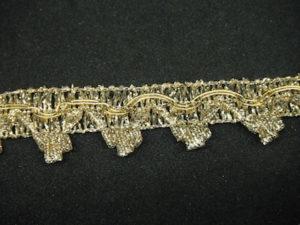 Passamaneria lurex oro con frangia altezza 2 cm