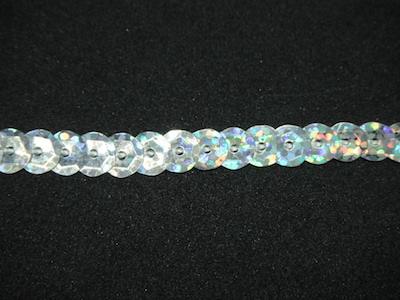 Filo di paillettes sfaccettate argento aurora boreale 0.5cm