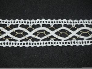 Tramezzo in cotone bianco con lurex oro 2cm