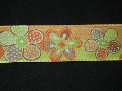 Nastro fantasia floreale fondo arancione e giallo 25mm