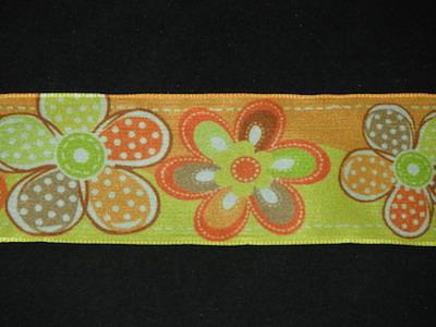 Nastro fantasia floreale fondo arancione e giallo 40mm